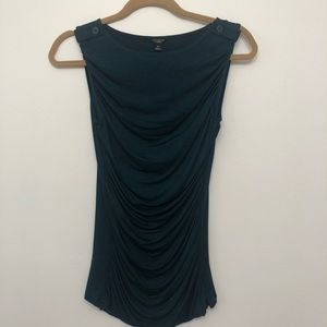 Ann Taylor Ruched Sleeveless Green Top Size SP